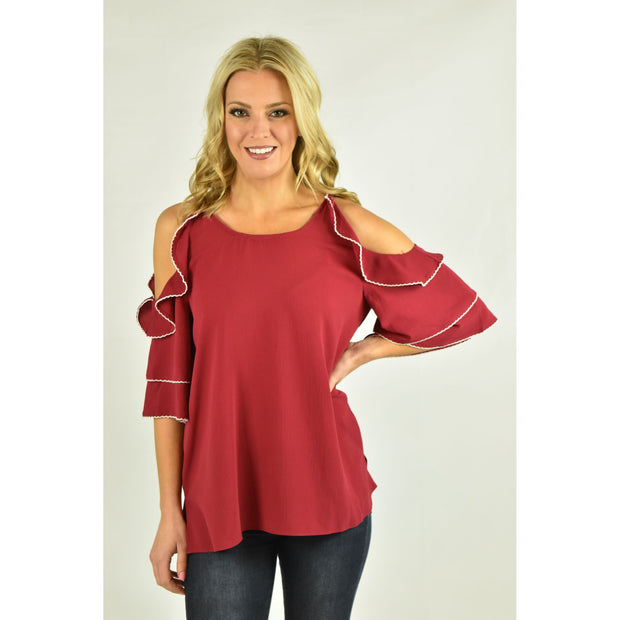 Layered Cold Shoulder Ruffle Top