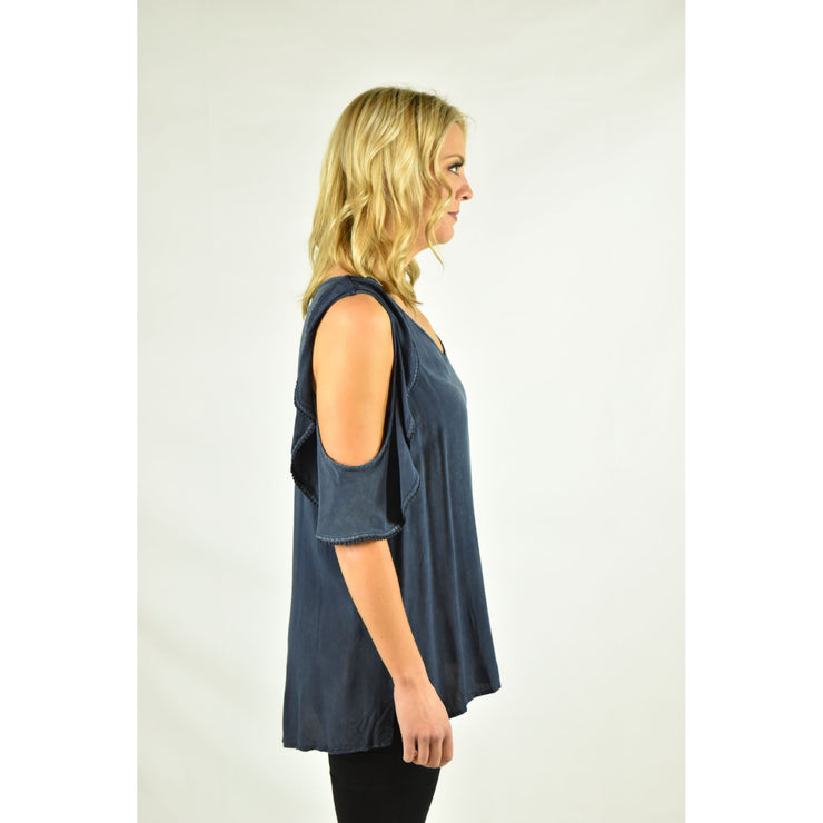 Acid Washed V Neck Top with Ruffled Open Shoulders