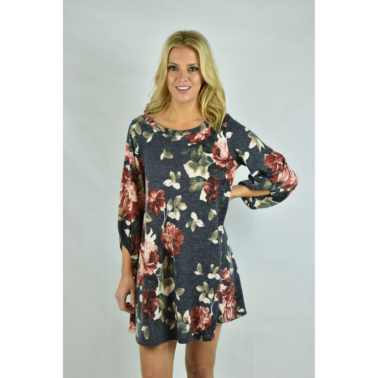 Floral Scoop Neck Dress