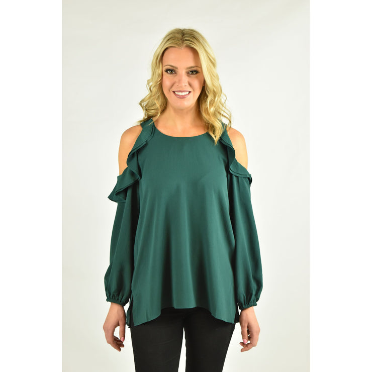 Puff Sleeve Top with Ruffled Cold Shoulder