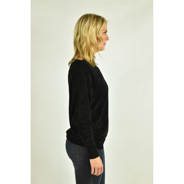 Terry Cloth Off Shoulder Sweater