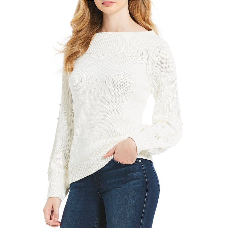Off Shoulder Wide Neck Sweater with Pearls
