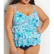 Floral Reef Plus Size 3 Tier Tankini Top