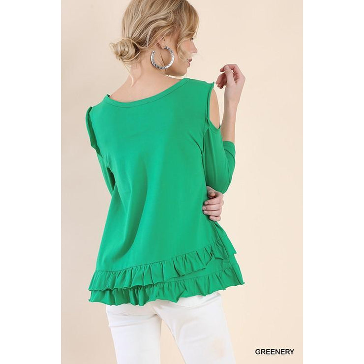 3/4 Sleeve Open Shoulder Top
