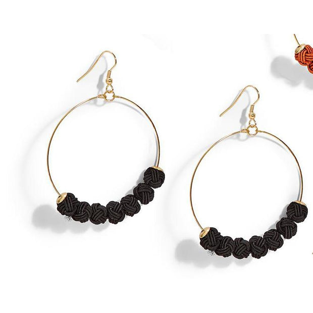 Large Hoop Earrings with Woven Balls