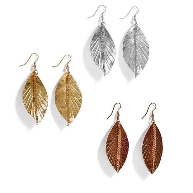 Two's Company Leaf it to Me Metallic Leather Feather Earrings
