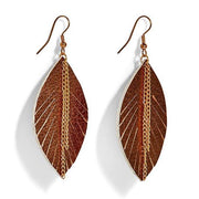 Leaf it to Me Metallic Leather Feather Earrings