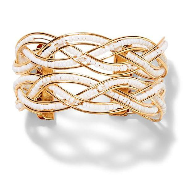 Intertwined Beaded Cuff Bracelet