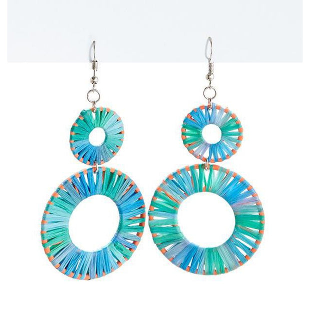 Bright Raffia Round Drop Earrings