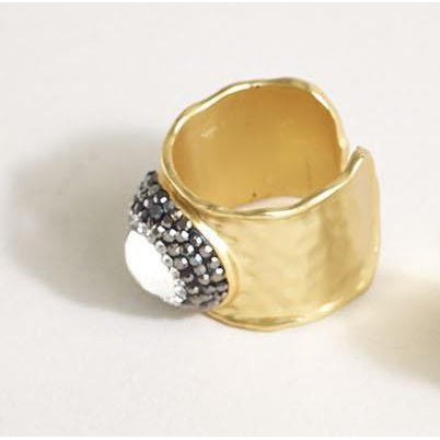 18K Gold Plated Ring with Pave Faceted Center Stone