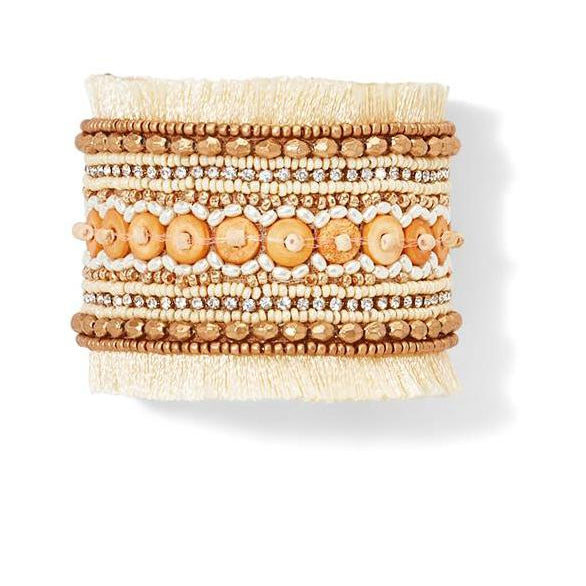 Hand Beaded Adjustable Ivory Cuff Bracelet
