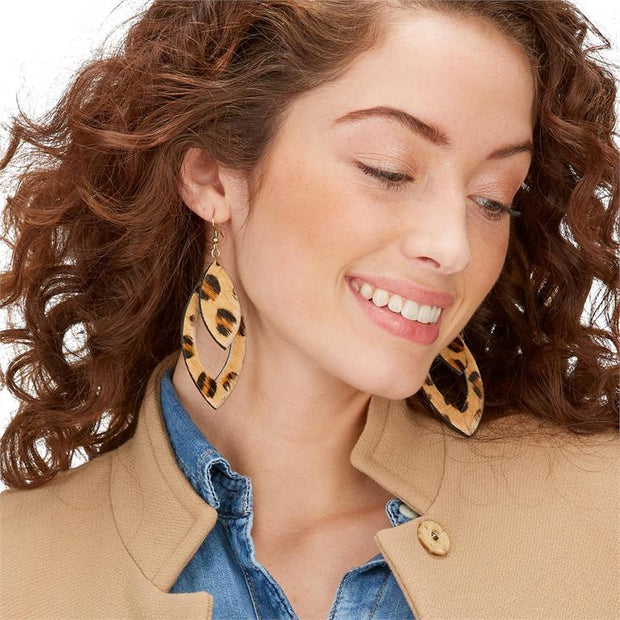 Animal Print Cowhide Cut Out Earrings