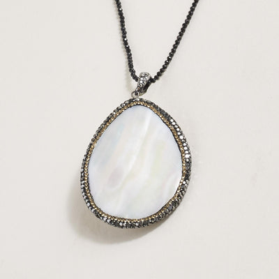 Large Mother of Pearl Pendant on Black Spinel Bead Chain