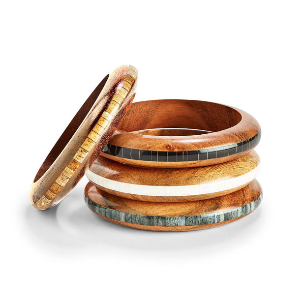 Wooden Bangle with Center Tile Design