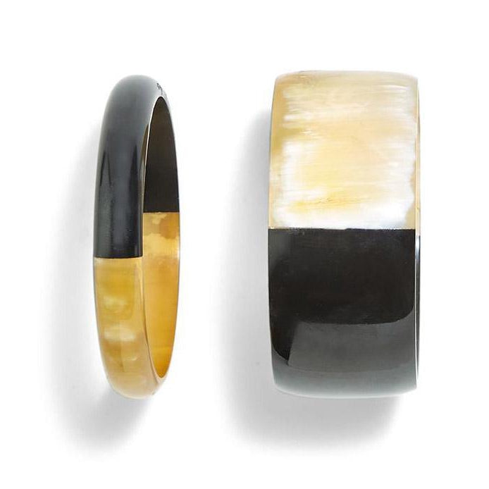 Color Block Slip On Horn Bangle Set