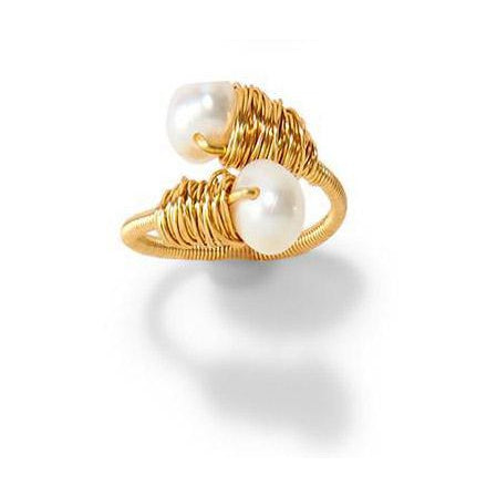 Adjustable Gold Pearl Ring