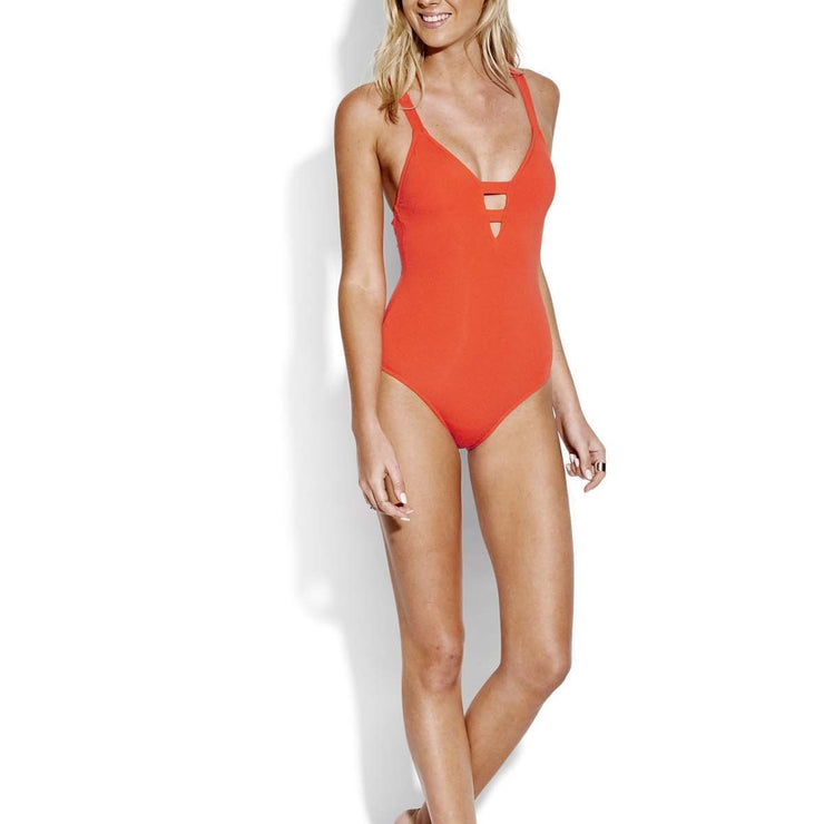 Solid Active Deep V Maillot One Piece