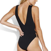 Solid Active Ring Side High Neck Maillot One Piece