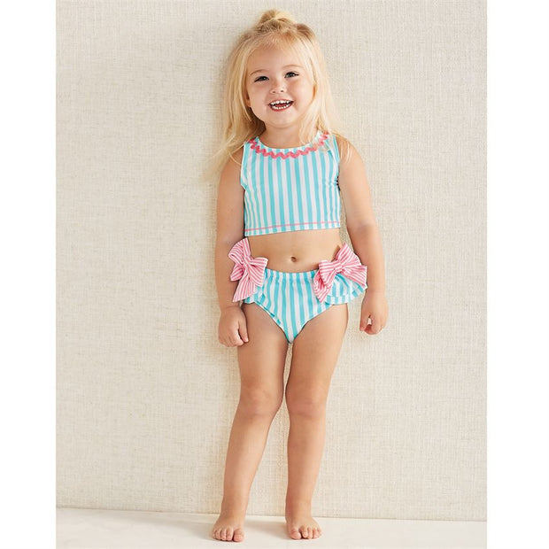 Girls Aqua Bow Two Piece Swimsuit