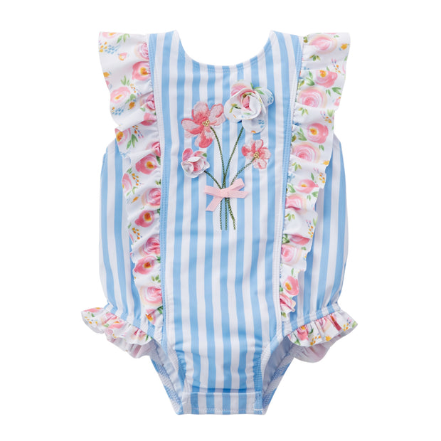 Girls Striped Floral Swimsuit
