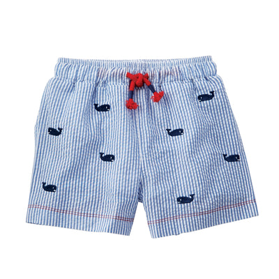 Boys Whale Seersucker Schiffli Swimtrunks