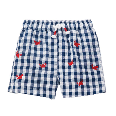 Boys Crab Gingham Schiffli Swimtrunks