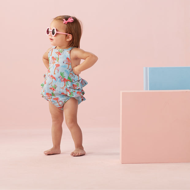 Girls Muslin Flamingo Ruffle Sunsuit