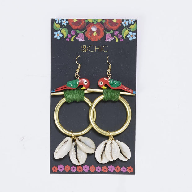 Parrot Earrings w Sea Shells