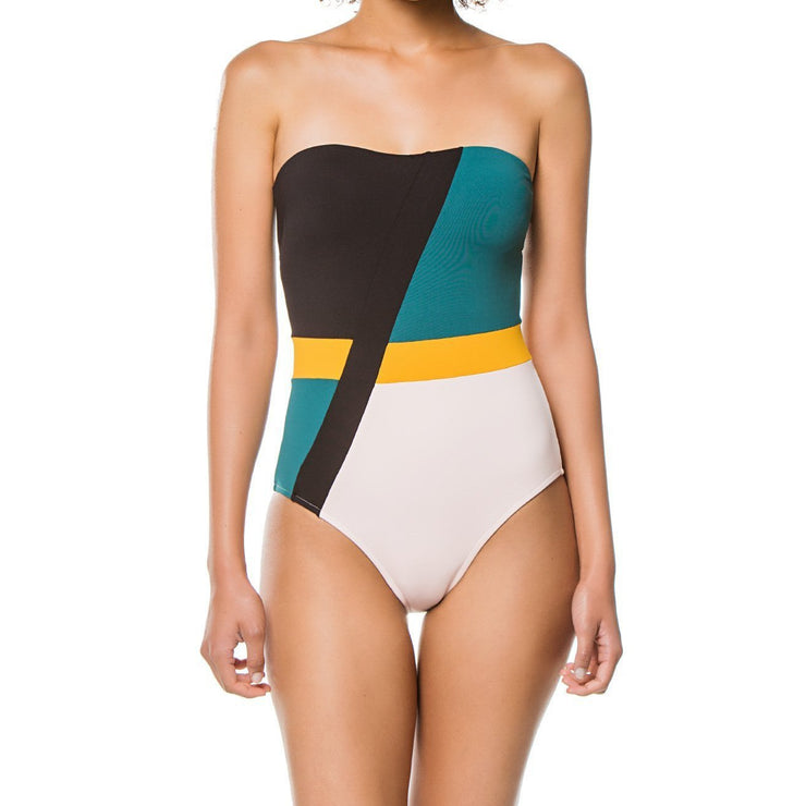 Color Block Multi Bandeau Maillot One Piece