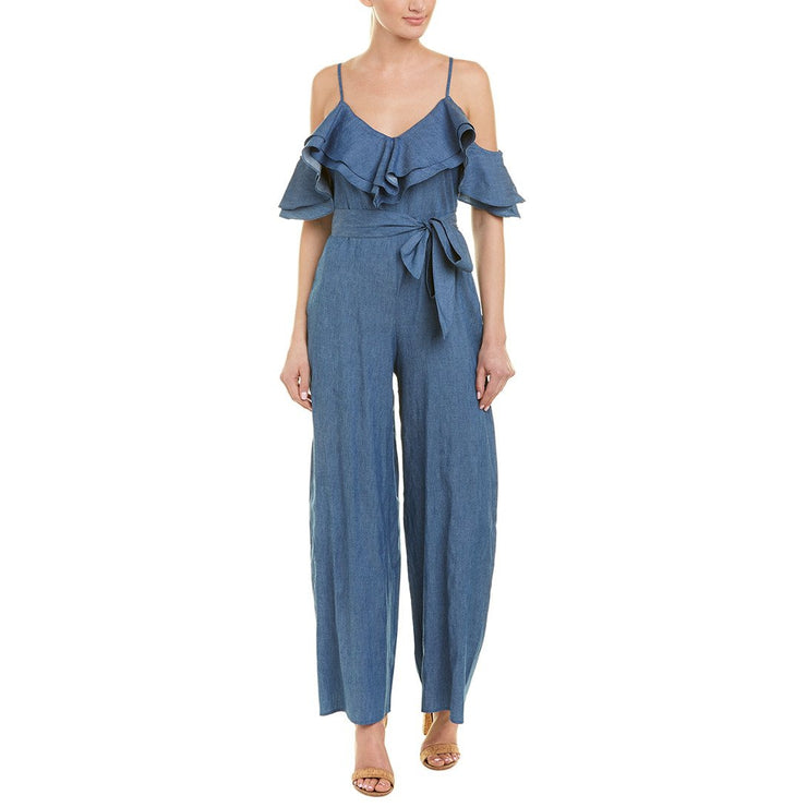 Cold Shoulder Ruffle Denim Jumpsuit