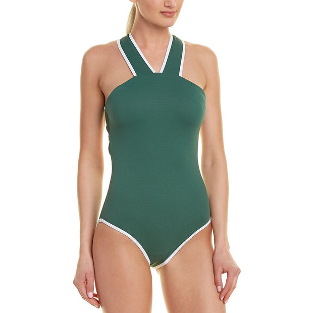Solid Palm High Neck One Piece with Binding