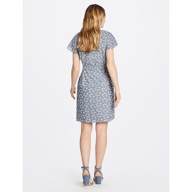 Embroidered Chambray Popover Dress