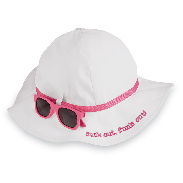 Girls Infant Sun Hat and Sunglasses Set