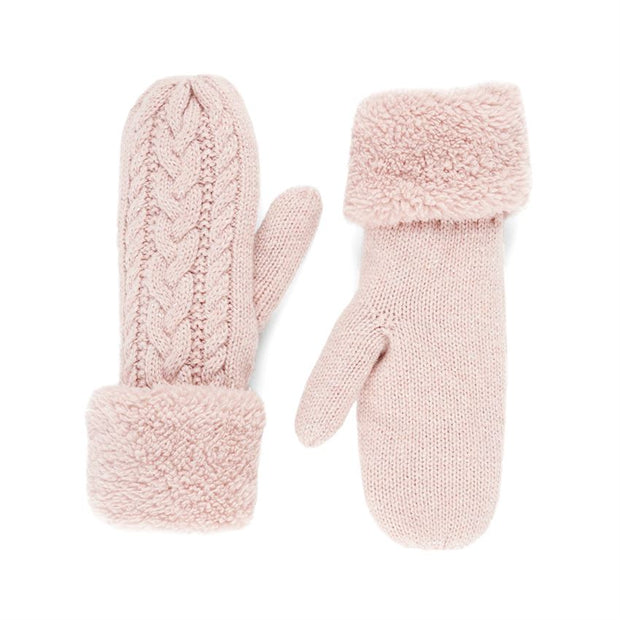 Cable Fleece-Lined Sparkle Mittens