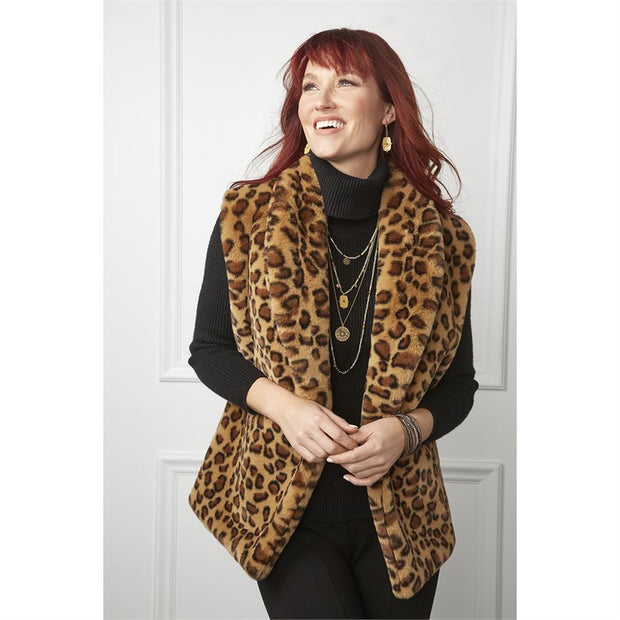 Cheetah Faux Fur Vest