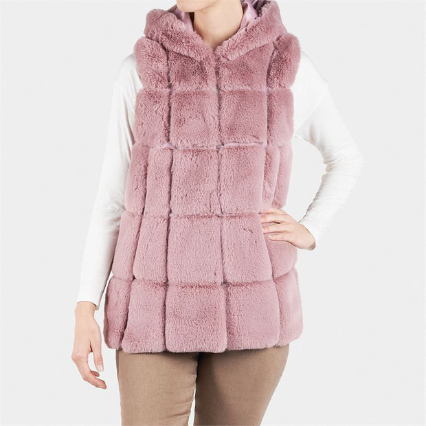 Hurley Hooded Faux Fur Vest