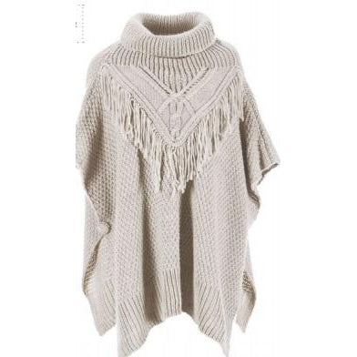 One Size Cable + Fringe Cowl Neck Poncho