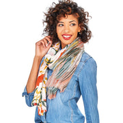 Floral Mixed Print Scarf with Eyelash Fringe