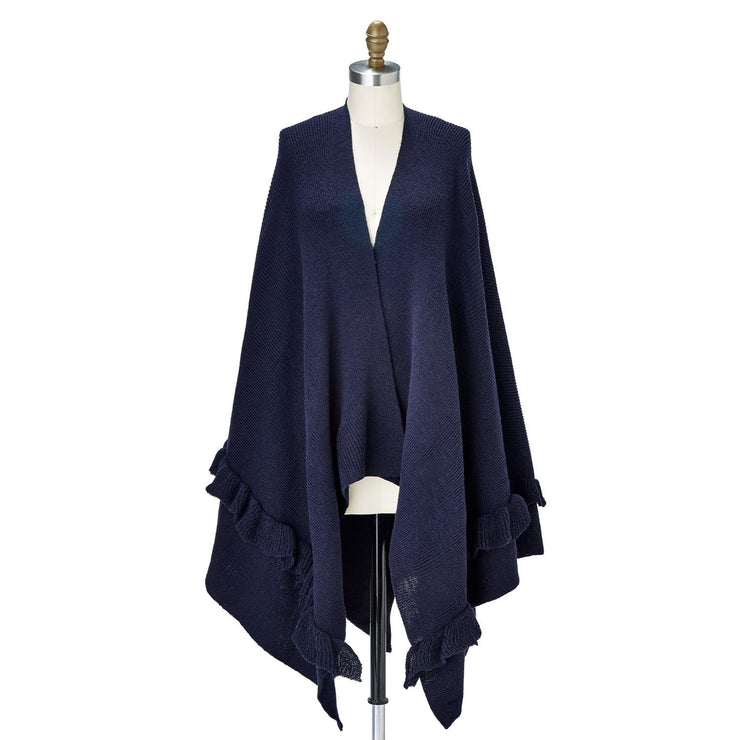 Navy Knit Shawl with Ruffles