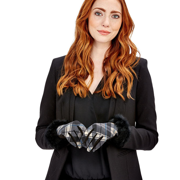 Plaid Glove with Fur Trim and Touchscreen Fingertips