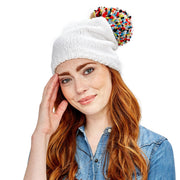 Chenille Hat with Yarn Pom Pom