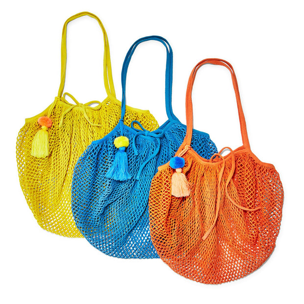String Foldable Shopper with Hanging Pom Pom Tassel