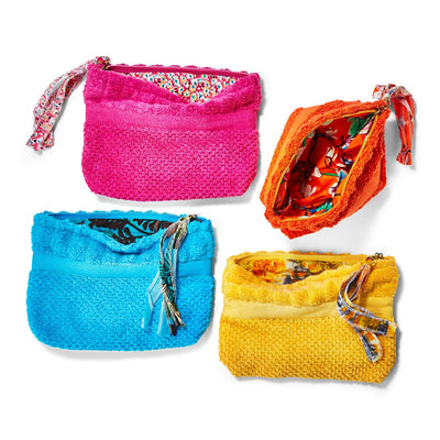 Terry Cloth Pouch with Tassel Zipper Pull