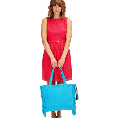 Terry Cloth Tote with Fringe Tassel Pull