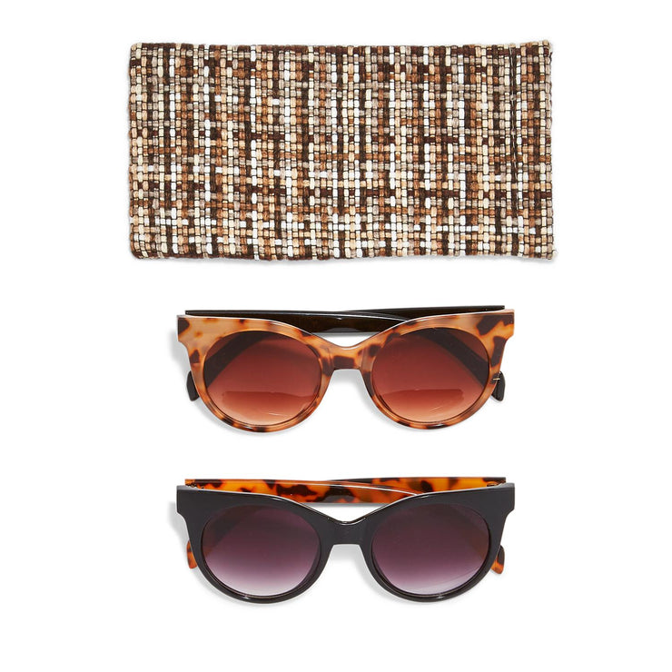 Miss Popularity Tortoise Pattern Sunglasses in Tweed Pouch