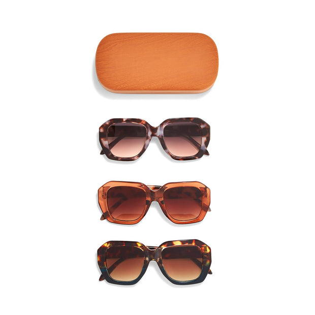 Headlines Oversized Sunglasses with Wood Case