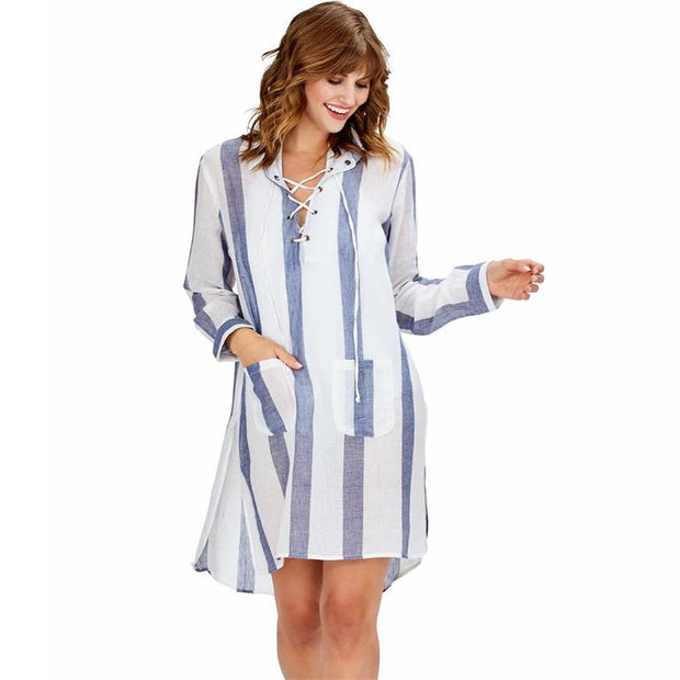 Beach and Brunch Navy Striped Cover Up