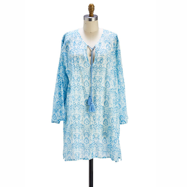 Printed Woven Tunic with Drawstring Tassels