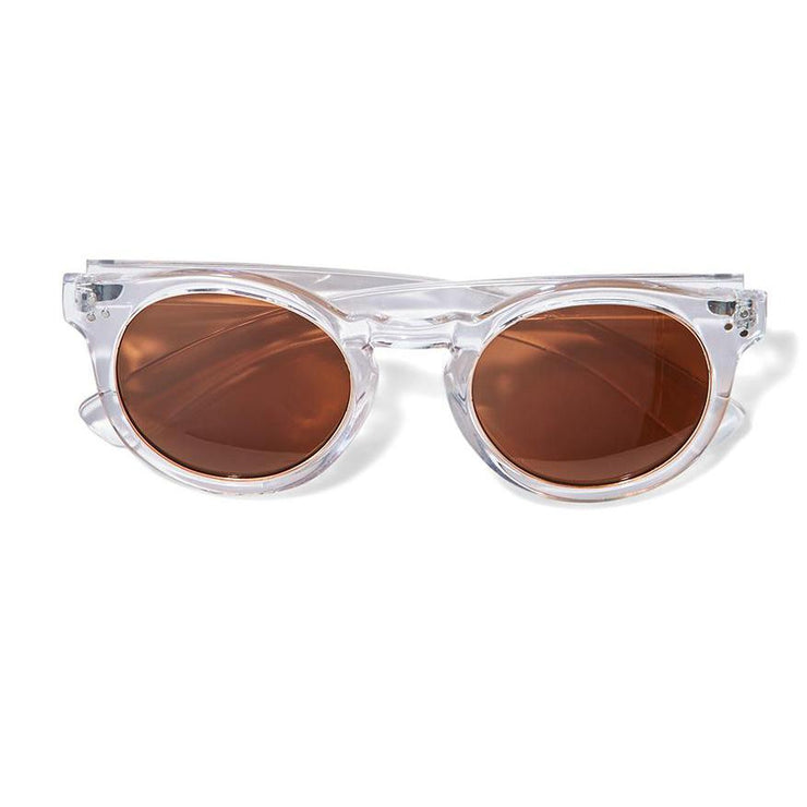 Sunglasses with Gold Ring Lenses in Cork Pouch
