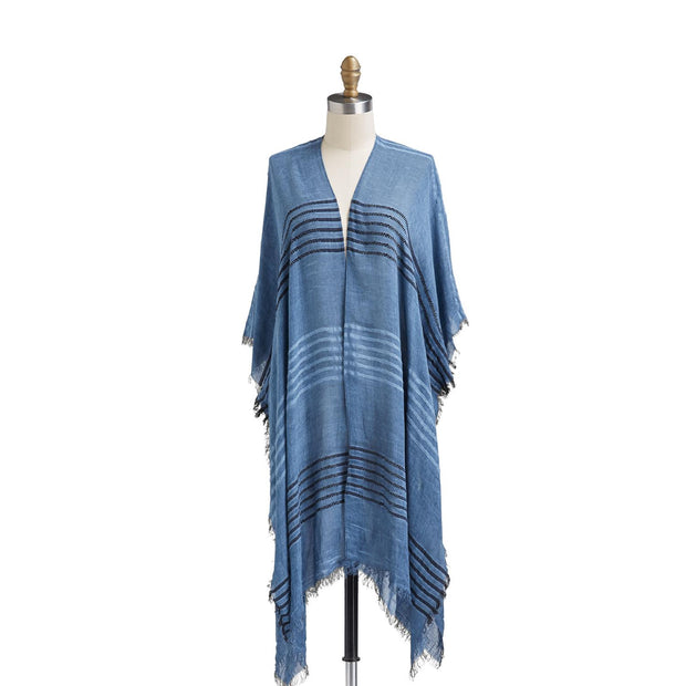 Embroidered Stripe Kimono with Eyelash Fringe